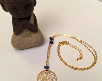 Lapis lazuli and gold plated necklace