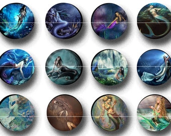 "1"" Inch Fantasy Mermaids Flatbacks, Pins or Magnets 12 Ct."