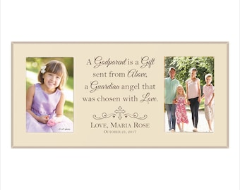 "Personalized Godparent's Photo Frame, ""A Godparent is a Gift sent from Above, a Guardian angel that was chosen with Love."" Godparents Gift"