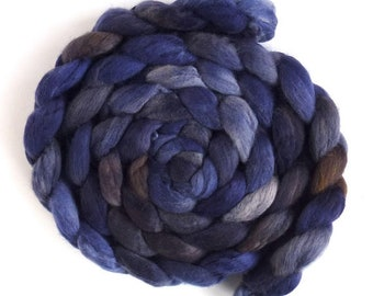 Going with Rain, Finn Wool Roving, Hand Painted Spinning or Felting Fiber