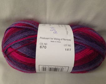CLEARANCE!! Pink and Purple Self Striping Sport Weight Superwash Wool/Nylon Blend AURORA Sock Yarn by Viking of Norway