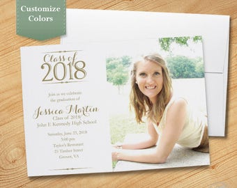Photo Graduation Invitation, High School, College, Graduation Party, Photo Invite, Printable, Printed, Class of 2018 - Simplicity Photo