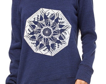 Gorgeous Off the Shoulder Navy Blue Sweatshirt with White Geometric Screen Print