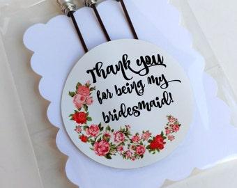 Bridesmaid Gift, Pearl Hairpins, Pearl Barrette, Bridal Hairclip, Bridesmaid Set, Bridal Thank You, Thank You Gift, Thank You Bridesmaid