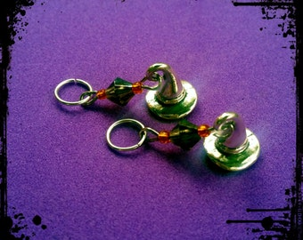 Hearing Aid Charms: Halloween Witch Hats with black and orange glass accent beads!