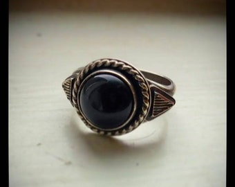 Black onyx stamped ring (size 8)