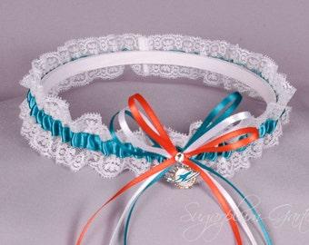 Miami Dolphins Lace Wedding Garter - Ready to Ship