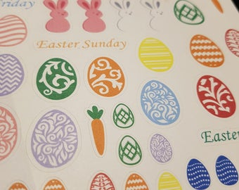 Easter Stickers with bunnies, eggs, chicks and holiday names - perfect for planners, diaries, calendars, bullet journals or anywhere else
