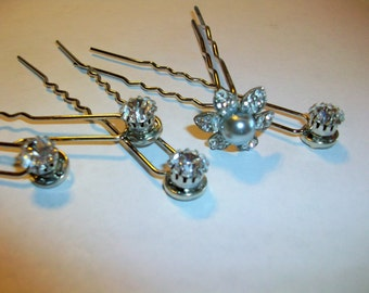 Bridal Evening Embellished Crystal  Hair Pins  Crystal Rhinestones  Hair Decoration  Set of 5         Free Shipping in the USA