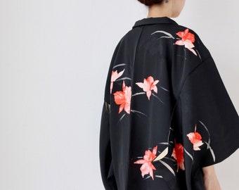 elegant floral haori, Authentic kimono, Japanese kimono, Asian jacket, kimono, Japanese kimono /3439