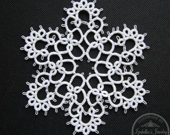 Hand tatted Christmas Snowflake XV
