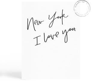 New York I love You, New York Wall Art, Modern Wall Art, Printable Art, New York Posters, Stylish Printable Art, Wall Decor,FleurtCollective