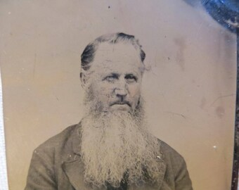 Long White Beard Man's Photograph Antique Tintype 1860's