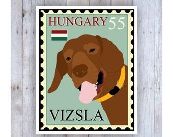 Vizsla Art, Boston Terrier Poster, Vizsla Stamp, Stamp Art, Dog Stamp Art, Vizsla Picture, Vizsla Decor