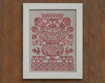 INSTANT DOWNLOAD Folk Flowers PDF counted cross stitch patterns by Modern Folk at thecottageneedle.com monochromatic Anniversary Wedding