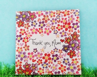 Thank you mum card, I love you mother card, Mother's day card, card for your mum, hearts and flowers for mum,  thankful card for mummy
