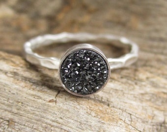 Tiny Black Druzy Ring Titanium Drusy Quartz Sterling Silver Hammered Band