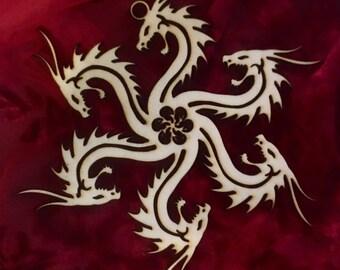"Game of Thrones House Targaryen Laser Cut Wood ""Snowflake"" Ornament"