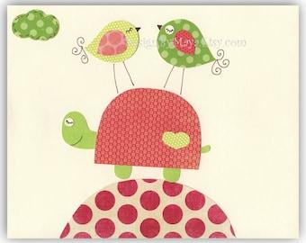 Baby girl room decor, Nursery wall art, baby girl nursery,love birds..Hot Light pink Turtle
