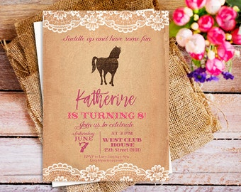 Printable Rustic Lace Horse Birthday Invitations, pony 1st birthday party, Horse Riding Birthday Rustic invites, pony equestrian invite