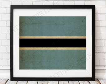 Botswana Flag Print, Botswana Flag Art, Botswana Gifts, Flag Poster, Housewarming Gift, Vintage Flag Wall Art, Flag Painting, Moving Gift