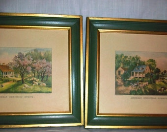 Antique Currier & Ives American Homestead lithographs all four seasons