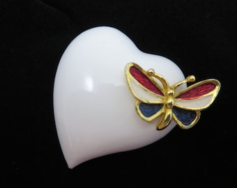 Enamel Heart Brooch - Red White and Blue, Butterfly, Costume Jewelry
