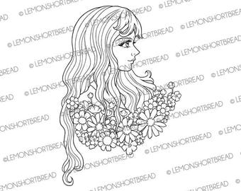 Digital Stamp Flowers Girl, Digi Download, Face Fantasy, Coloring Page, Romantic, Summer Garden, Clip art, Scrapbooking Supplies
