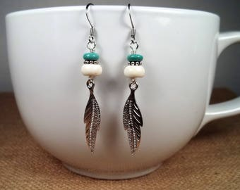Silver Howlite Turquoise Feather Bohemian Statement Dangle Earrings