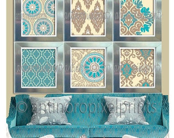 Turquoise Teal Khaki Creme Print Wall Art Pictures  - Set of (6) - 8x10 Prints - Your Custom Colors Available (UNFRAMED) #156716666