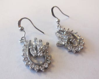 Vintage Earrings Dangle Rhinestones Silver Tone Metal Jewelry Retro Bridal Wedding Special Occasion Formal Lady's Fashion Accessories
