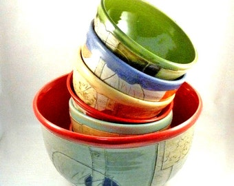 Dinnerware set Ceramic serving bowl set cereal bowls kitchen ceramics and pottery bowl set salad bowl stacking bowls handmade bowl set