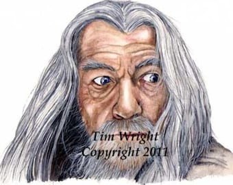 Gandalf the Gray Lord of the Rings Watercolor print