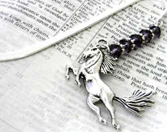 Horse Bookmark with Purple Glass Beads Shepherd Hook Steel Bookmark Silver Color