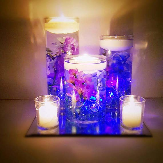 Wedding centerpiece floating candle purple