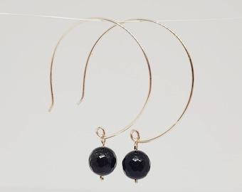 Sterling silver hoop earrings with agate gemstone.
