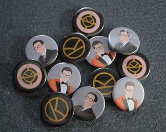 ONE Kingsman button badge – Eggsy orange jacket – K logo pin – Harry Hart – Eggsy medal – choose design