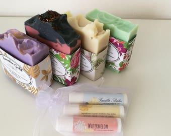Soap gift set, gift for grandma, lip balm gift set, gift for her, mothers day, Artisan soap, cold process soap, soap Australia, gift for mum