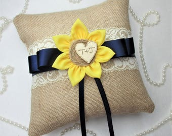 Rustic Country Chic Sunflower Wedding Ring Pillow ,Rustic Country Chic Wedding Decor, Sunflower 8 x 8 inch Ring Bearer Pillow