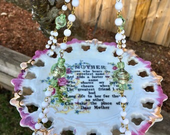 Mother's Day Poem Gift, Repurposed Vintage Dish Bird Feeder, Hanging Planter, Garden Decoration, Poem Art, Upcycled Vintage Plate, Yard Art