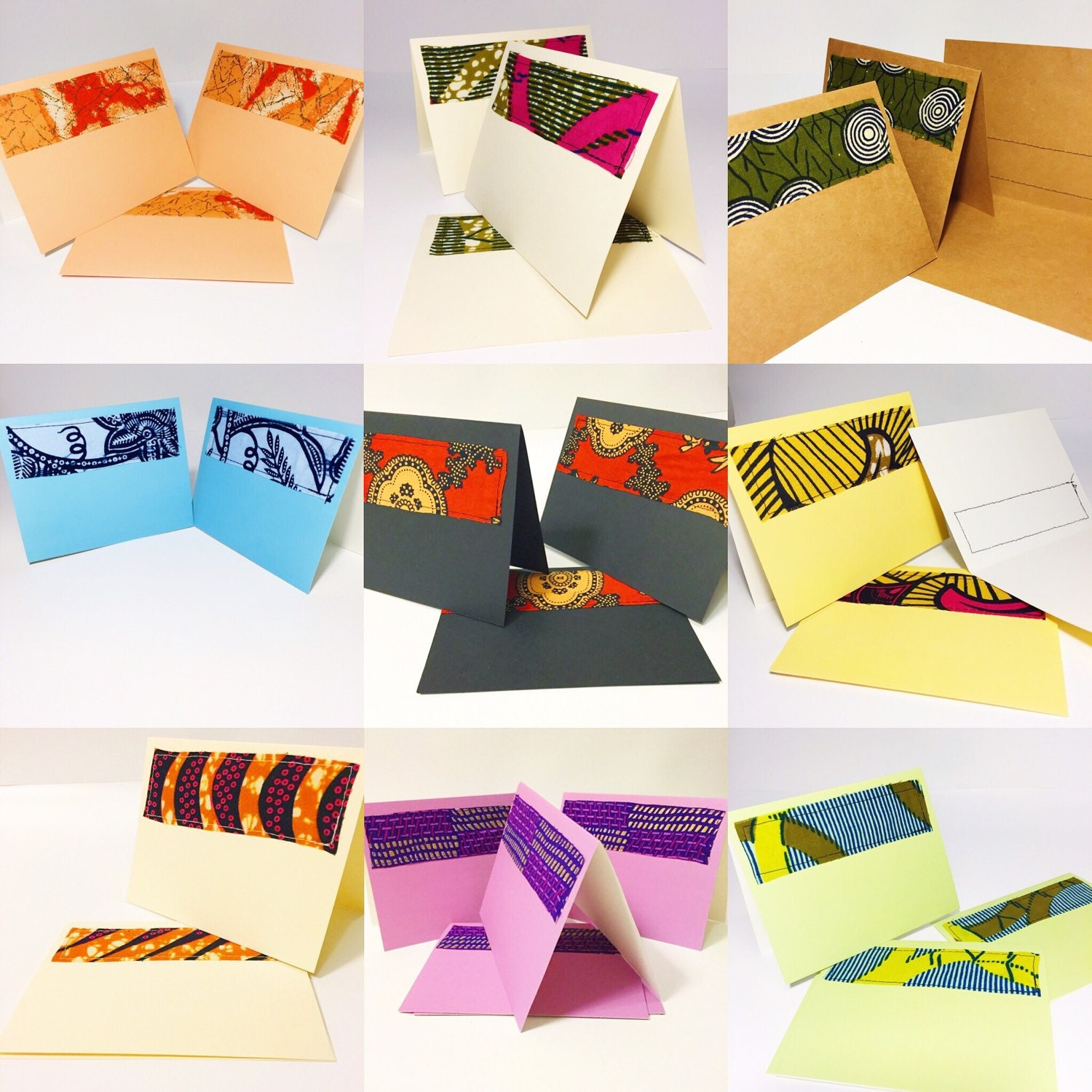Pack of six blank cards greeting cards wax print blank cards pack of six blank cards greeting cards wax print blank cards six handmade african fabric greeting cards kristyandbryce Image collections