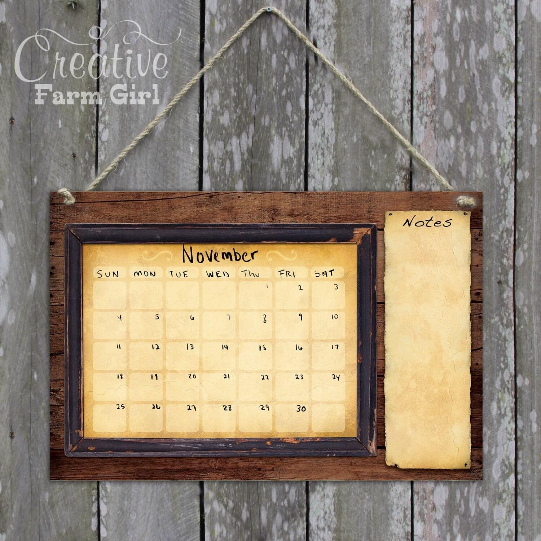 Dry erase calendar rustic calendar barnwood calendar white