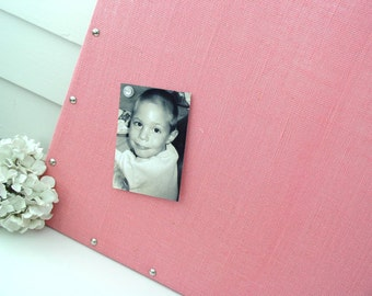 Pink Burlap Magnetic Board - MAGNETIC Organization Bulletin Board - 26.5 x 38.5 inches - Silver Upholstery Nail Head Tacks and Magnets