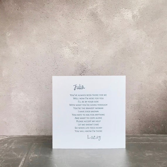 Personalised support card