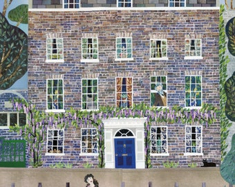 William Morris House Greeting Card, River, Thames, Swans, Illustration, Collage, Art Card, Birthday, Notecard, London, Amanda White Design