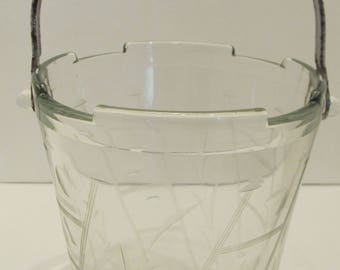 Vintage Cut and Etched Clear Glass Ice/Sugar Bucket with Polka Dots and Stems.