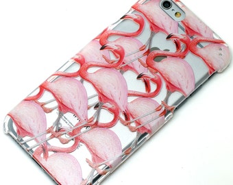Pink Flamingo Bird Pattern Henna  Transparent Clear Phone Case iPhone 6, 7, SE, 6 Plus, 7 Plus, 6S, 5, 5C, 5S, Galaxy S6, S7, Note 5, Note 7