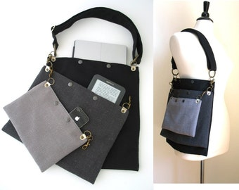 Black and Grey Tote Bag Purse with 2 Detachable Pouch Bags
