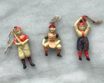 Vintage Made in Japan Celluloid Baseball Players 2 1/ 2  inch figures -  Batter Catcher Pitcher