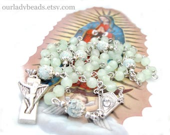 Catholic Rosary•Green Glass Rosary•Catholic Gifts•Mother's Day Gift•Confirmation•First Communion•Bridal•Religious Gift•Our Lady Beads,#R36